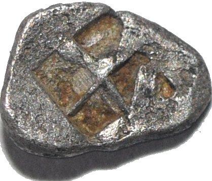 Tetartemorion de Kyzikos. Sistema ponderal eginético. Cabeza de atún/Incuso. 550 a. C. aprox. 459a10