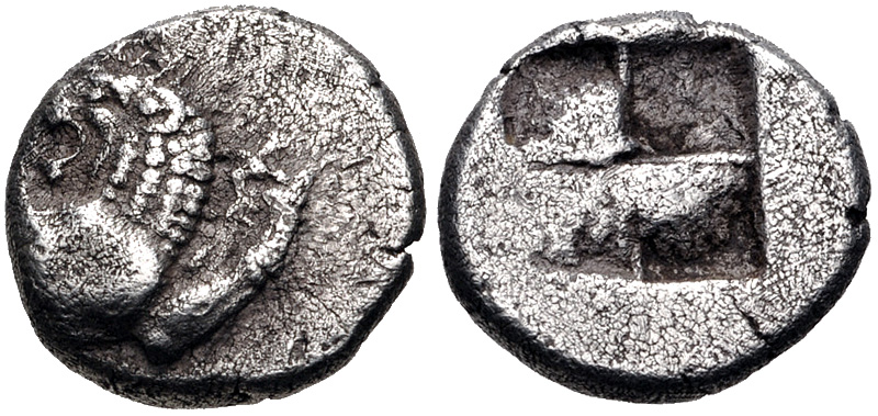 Diobolo de Chersonesos, Tracia. Ca 500 a.C. Dedicada al Maestro62. 48310