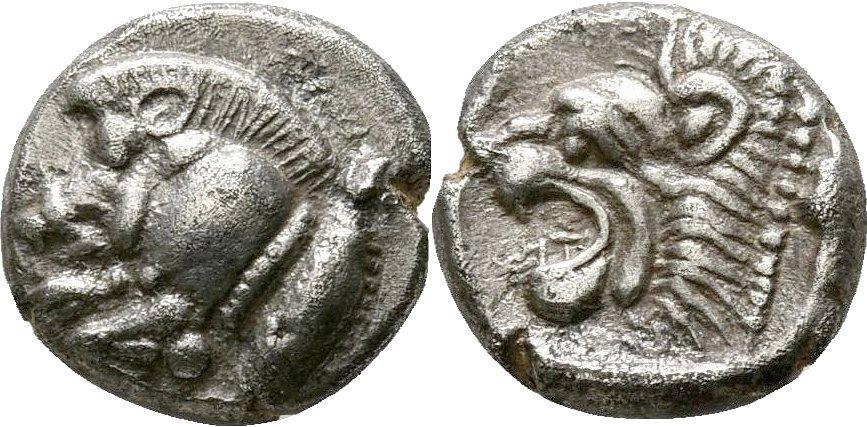 Diobolo de plata, Mysia Kyzikos. Ca 480 a.C. 50710