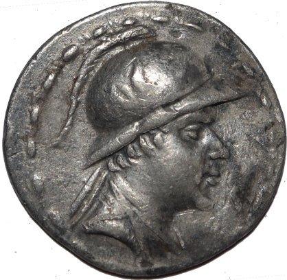 Tetradracma de plata. Eucrátides I. Reino Greco Bactriano. Ca 170-145 a.C. 55610