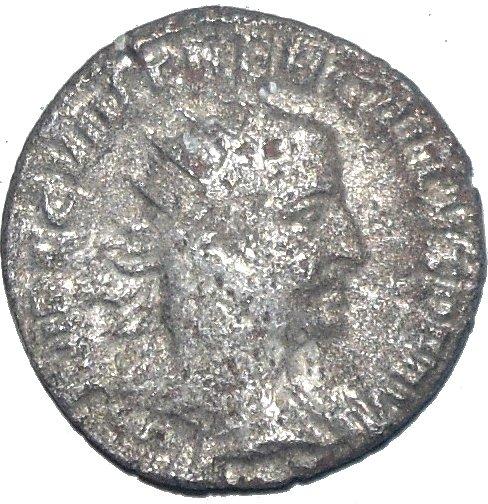 Antoninian de Treboniano Galo. VBERITAS AVG. Uberitas estante a izq. Antioch. 60810