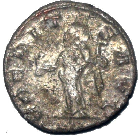 Antoninian de Treboniano Galo. VBERITAS AVG. Uberitas estante a izq. Antioch. 608a10