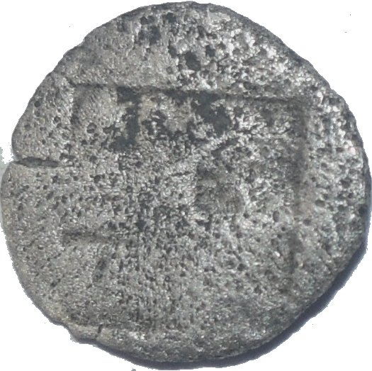 Óbolo de plata de  Teos, Jonia. 530 al 478 a.C. Grifo sentado con las alas erectas. 618a10