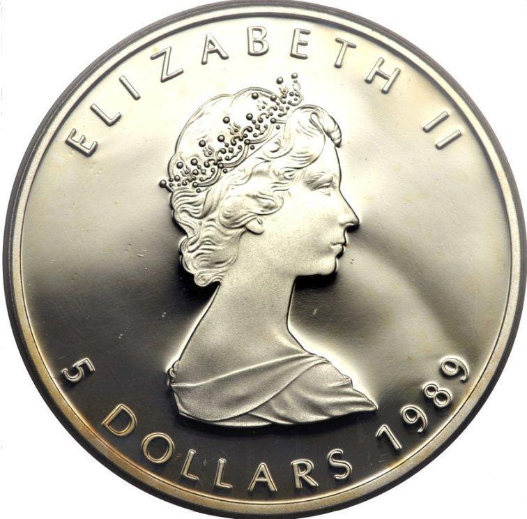 Canada, Cinco dolares de plata canadienses. Elizabeth II. 1989 62610