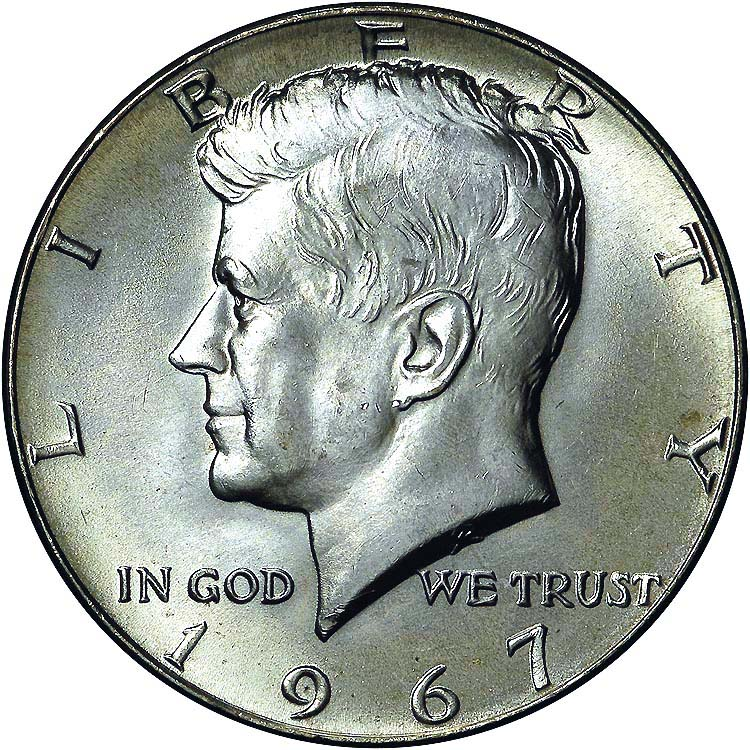 Medio dolar de plata de Kennedy. 1967 62810