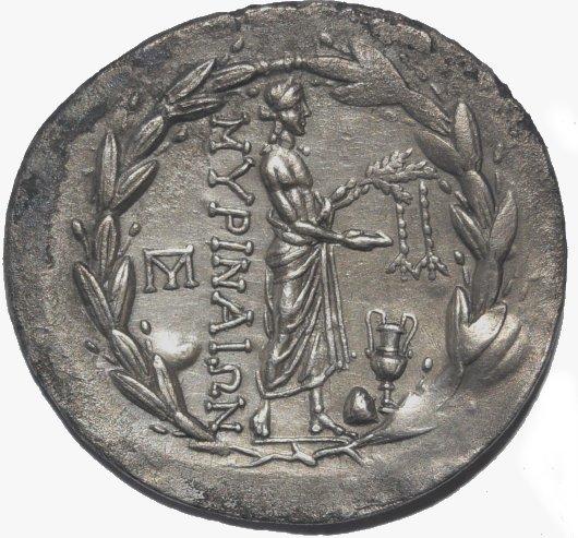 Tetradracma de plata. AEOLIS, Myrina. Ca. 160-143 a.C.  683b12