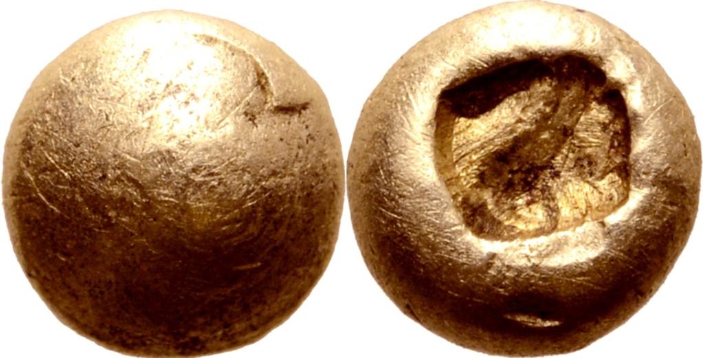 1/48 de estatera de electrón. Jonia. Ceca incierta o Lidia. Documentadas en el Tesoro de Efeso. 68510