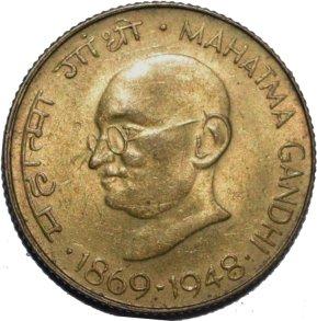 20 paisas India, 1969.  Emisión conmemorativa,l centenario del nacimiento de Mahatma Gandh 72110