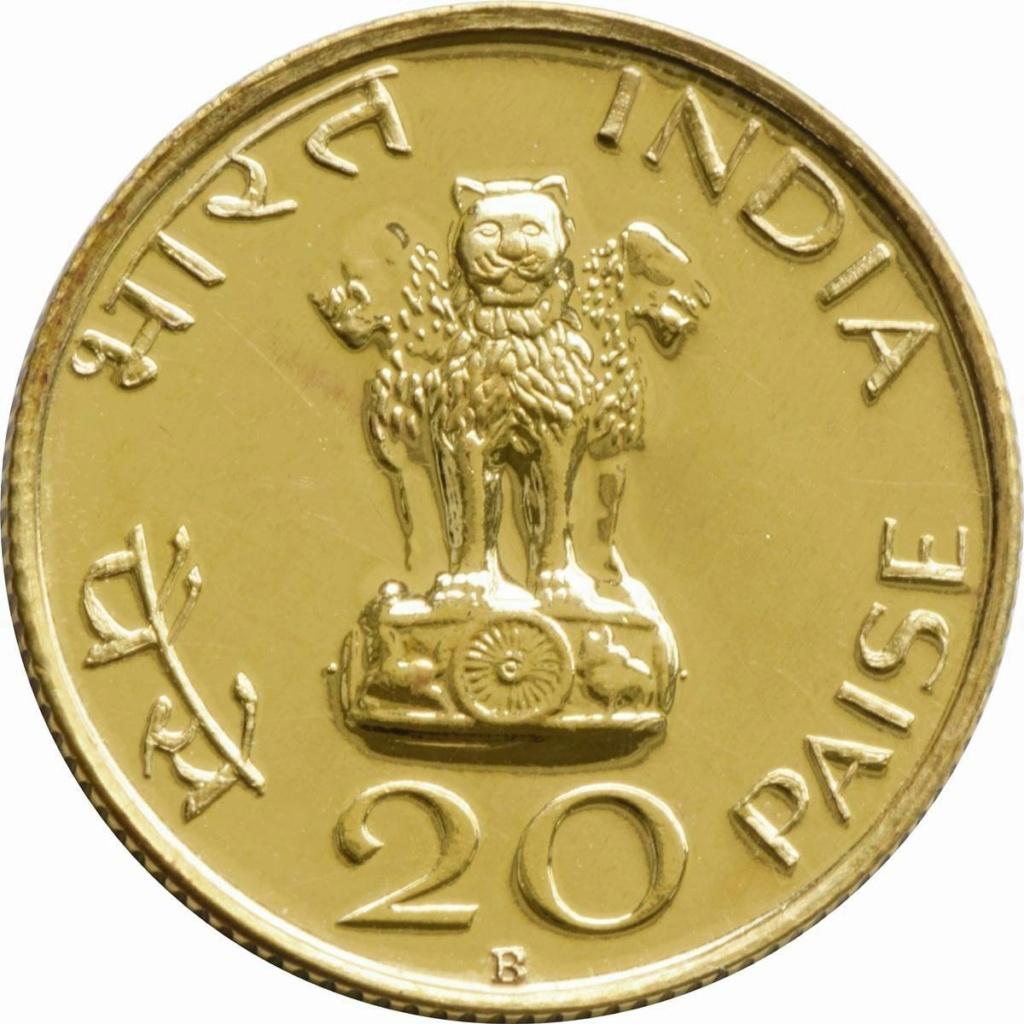 20 paisas India, 1969.  Emisión conmemorativa,l centenario del nacimiento de Mahatma Gandh 721b10