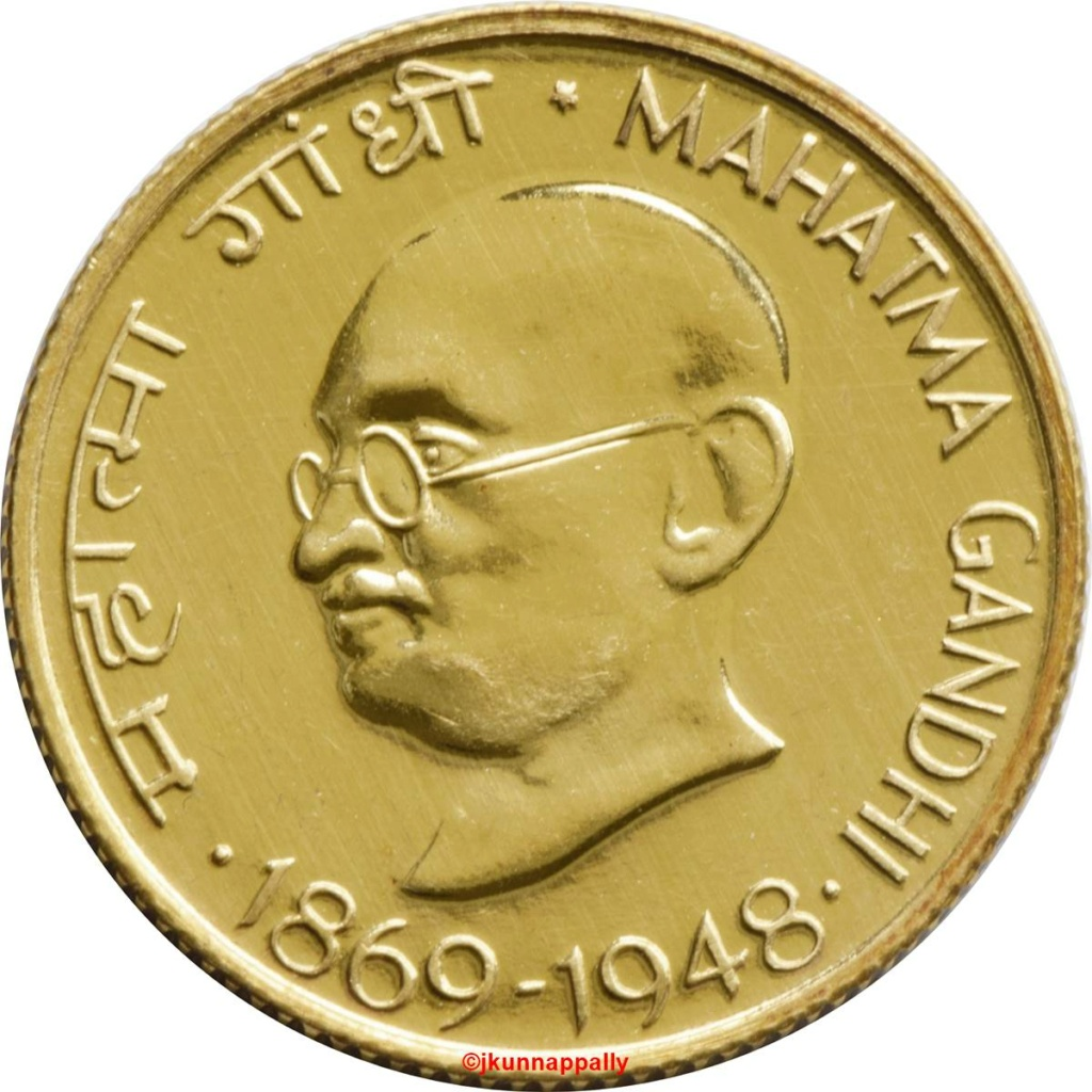 20 paisas India, 1969.  Emisión conmemorativa,l centenario del nacimiento de Mahatma Gandh 721c10