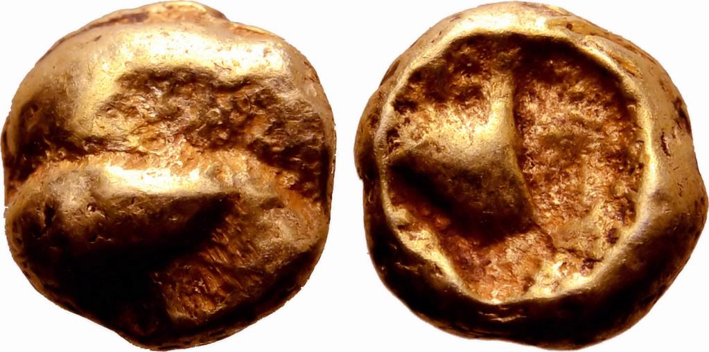 1/24 de estatera de electrón. Jonia. Ceca incierta. Ca. 600-550 a.C. Documentada en el Tesoro del Artemision 758a10