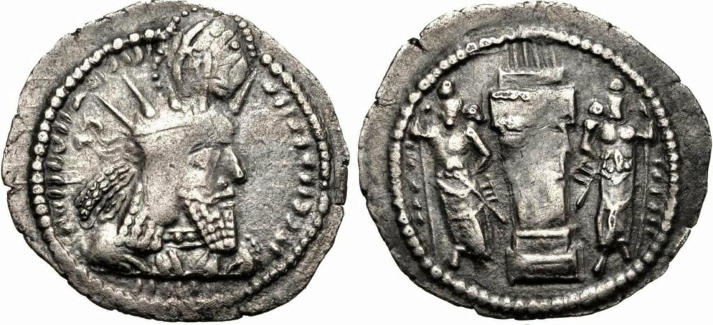 Óbolo sasánida de Bahram I (273-276 d.C.) Maestro Benyusuf dedit 765a10