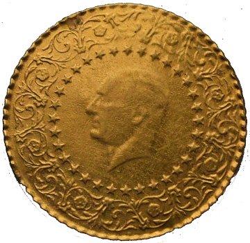 500 Piastras o Kurush de Oro, Mustafa Kemal Ataturk. Estambul, Turquía, 1967. 76611