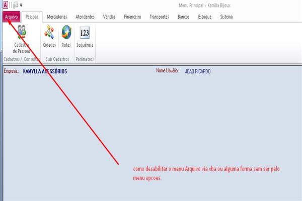Desativar o menu Arquivo do access  2010 Arquiv10