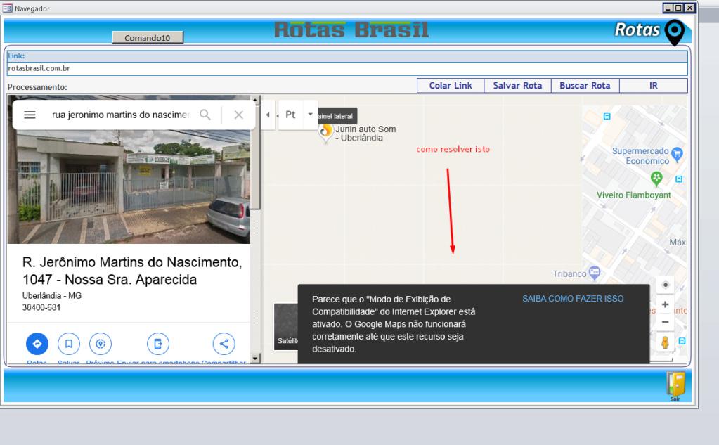 Google maps no internet explorer, erro de exibicao de modo de compatibilidade Maximo10