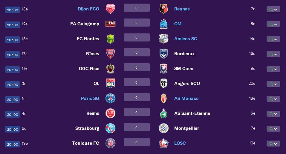 Calendrier Ligue 1 saison 01 0299