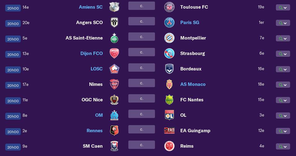 Calendrier Ligue 1 saison 01 0300