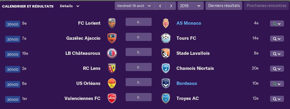 3ème journée de Ligue 2 avant Vendredi 12 h 0548