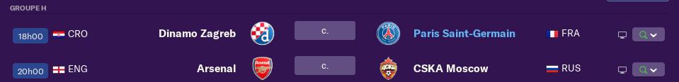 2ème Journée de Ligue des Champions avant mardi 12 h 0630