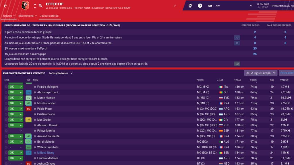 Enregistrement Effectif Europa League 1217