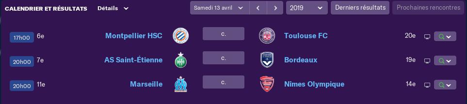 Compositions 32ème journée de Ligue match avancés Lundi 12 h 1306
