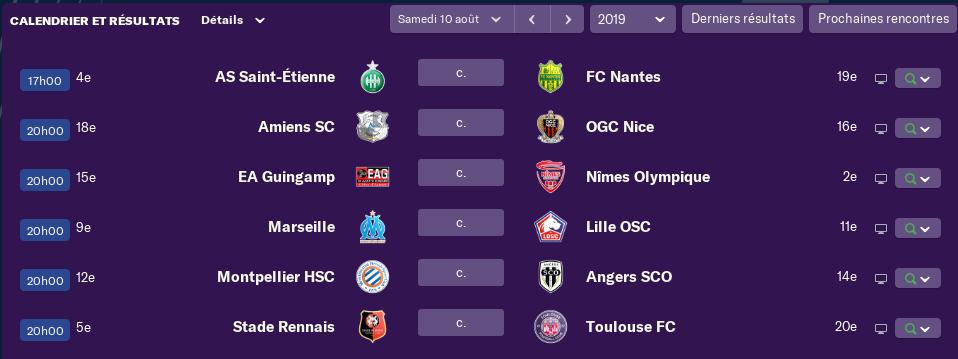2ème Journée de Ligue 1 avant Lundi 12 h 1401