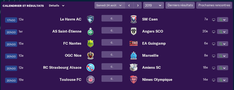 4ème journée de Ligue 1 Lundi 15 H 1413