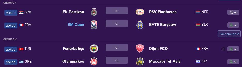 2ème Journée de l'Europa League avant mardi 12 h 1451