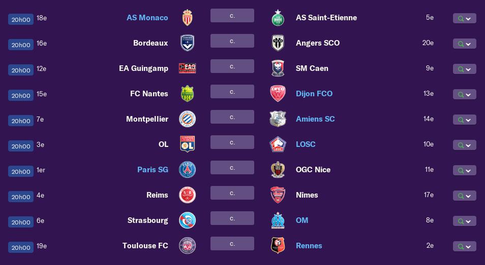 Calendrier Ligue 1 saison 01 2201