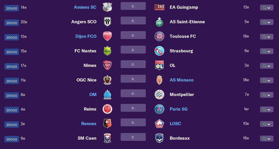 Calendrier Ligue 1 saison 01 2202