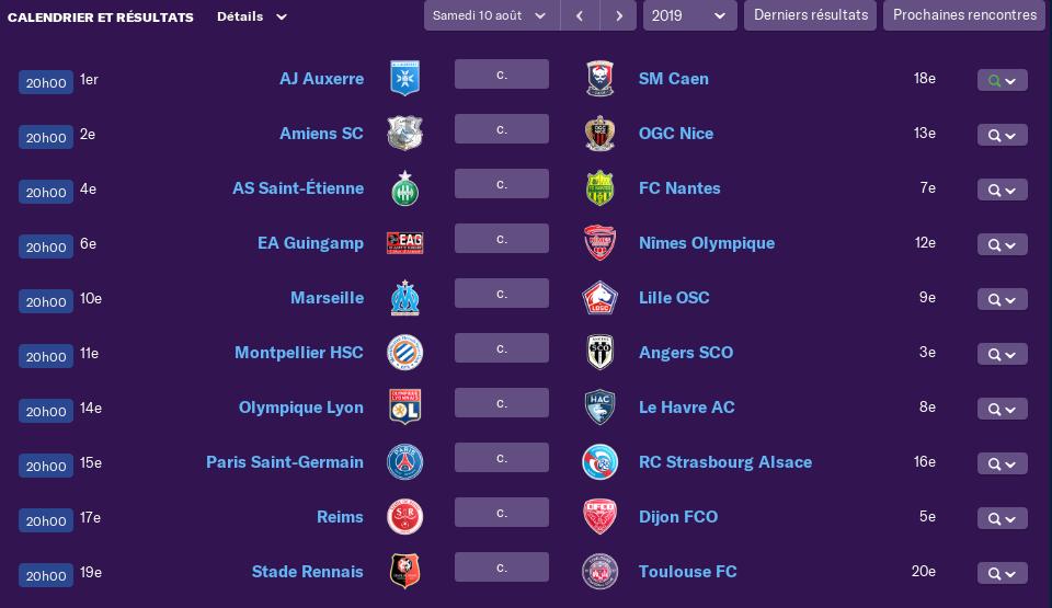 Calendrier Ligue 1 saison 02 2305