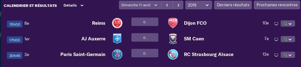 2ème Journée de Ligue 1 avant Lundi 12 h 2314