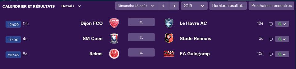 3ème journée de Ligue 1 avant Vendredi 12h 2318
