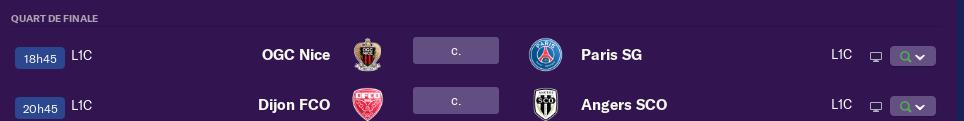 1/4 de finale de Coupe de la Ligue avant samedi 12h 4123