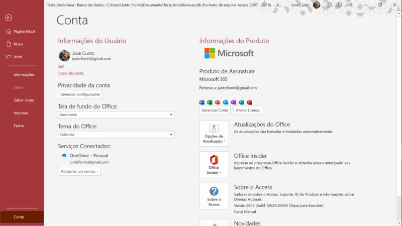 """[Resolvido]Comandos  Modo Design, """"Adicionar campos existentes"""" e """"Folha de Propriedades, do Acces bloqueados Tela_210"""