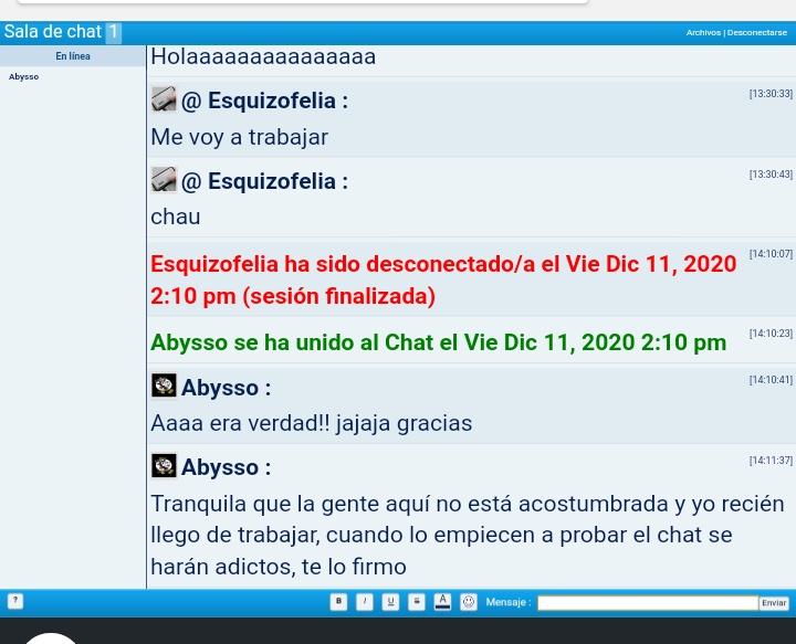El chat dentro del nuevo foro: Screen12