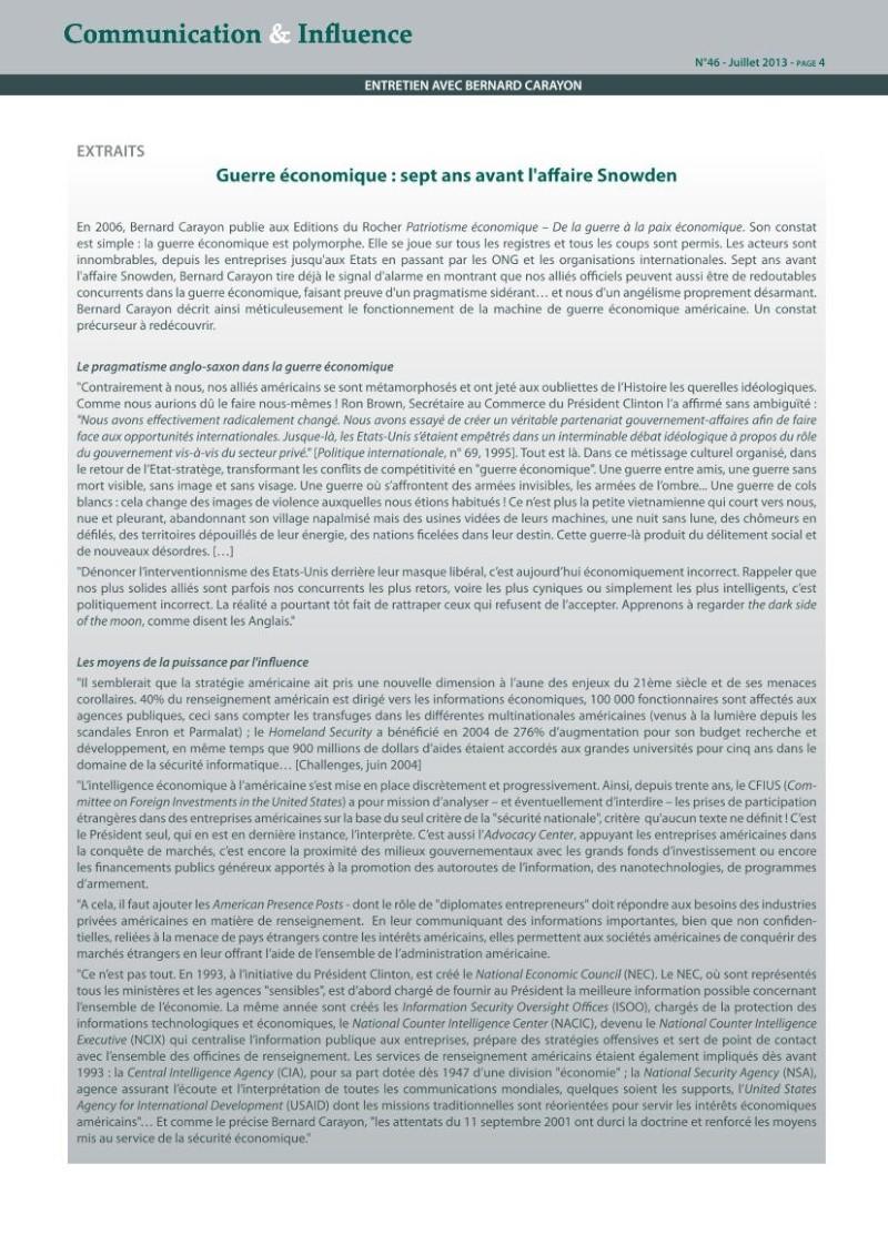 Ce que l'affaire Snowden révèle de la guerre économique : le décryptage de Bernard Carayon Carayo13