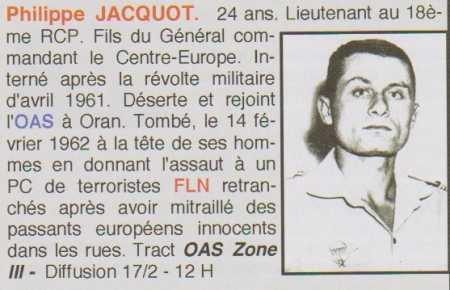 JACQUOT Philippe mort le 14 février 1962 à Oran - s/lieutenant 18e RCP Putsch Alger - 21e RI rejoint l'OAS Philip10