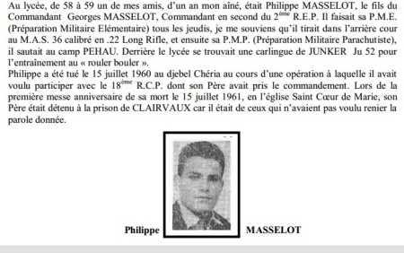 MASSELOT Philippe 18ème RCP mort au champ d'honneur  15 juillet 1960 au djebel Chéria en Algérie Française Philip11