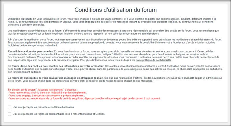 Compléter les Conditions Générales de son forum 05-08-35