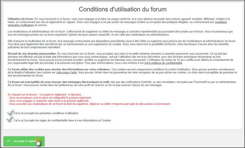 Compléter les Conditions Générales de son forum 05-08-36