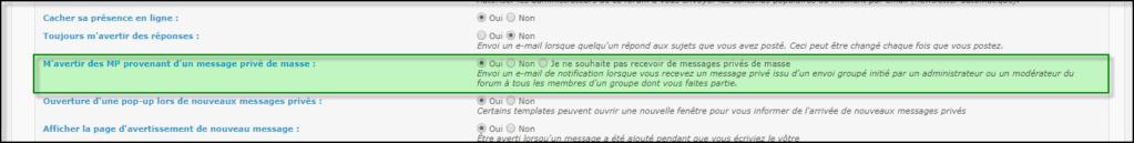 Gestion de la messagerie Privée (MP) 19-08-76