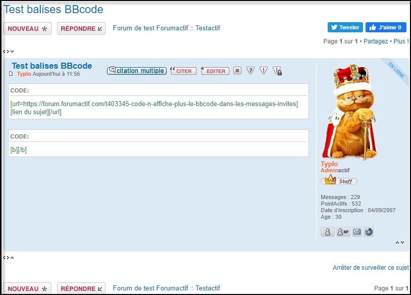 [code] n'affiche plus le BBcode dans les messages invités 21-06-12