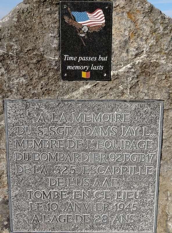 Commune de SAINT-HADELIN (OLNE) Monument en hommage au sergent Jay L. ADAMS 0310