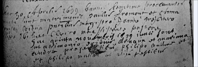 mariages à Bossière en 1686 et en 1699 Fromon10