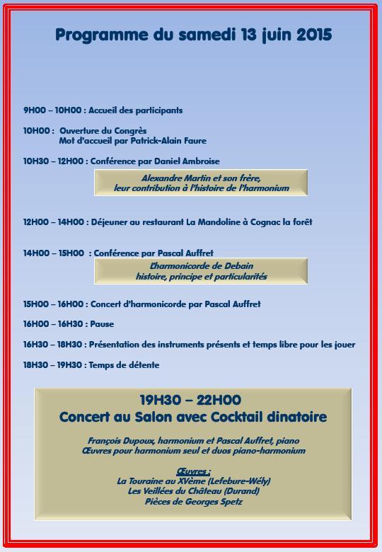 Congrès national sur l'harmonium, 13 et 14 juin 2015 Congre11
