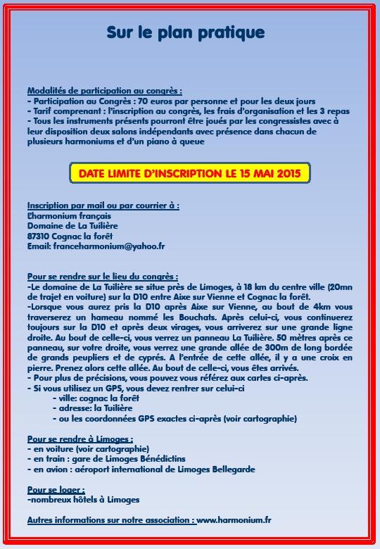 Congrès national sur l'harmonium, 13 et 14 juin 2015 Congre13
