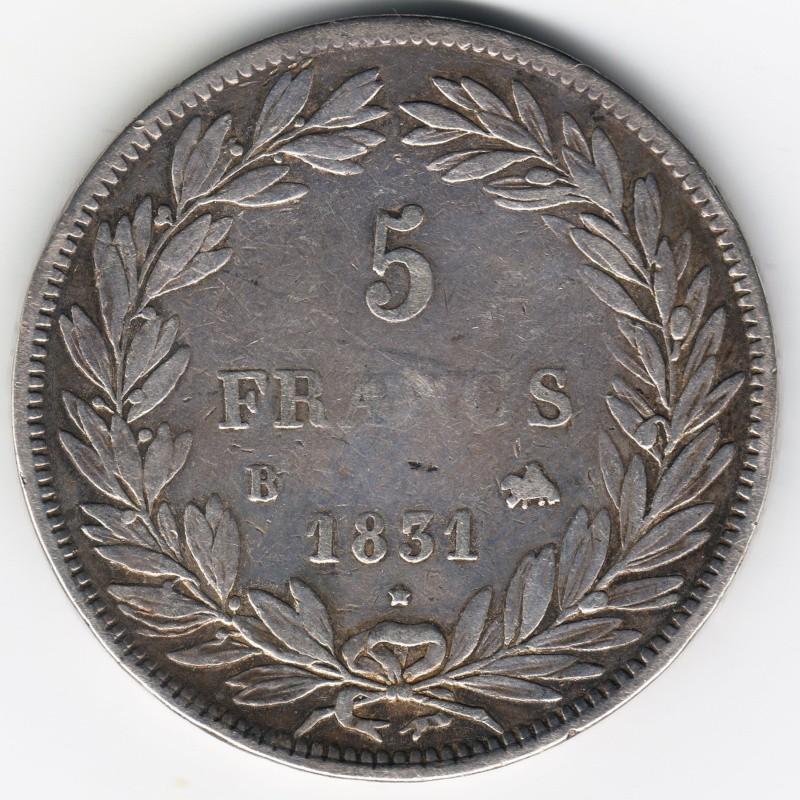 5 Francs. Francia. 1831. Rouen Img77510