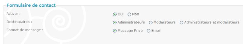 Nouveau: formulaire de contact + la copie des permissions font leur apparition sur forumactif 5510