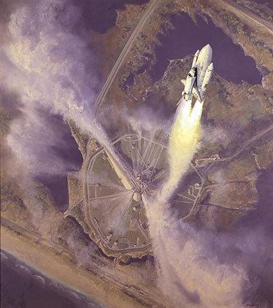 Image; peinture decollage shuttle Space_10